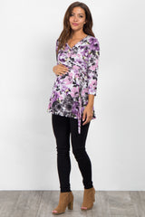 Purple Abstract Floral Sash Tie Maternity Top