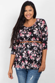 Black Floral Print Belted Plus Maternity Top