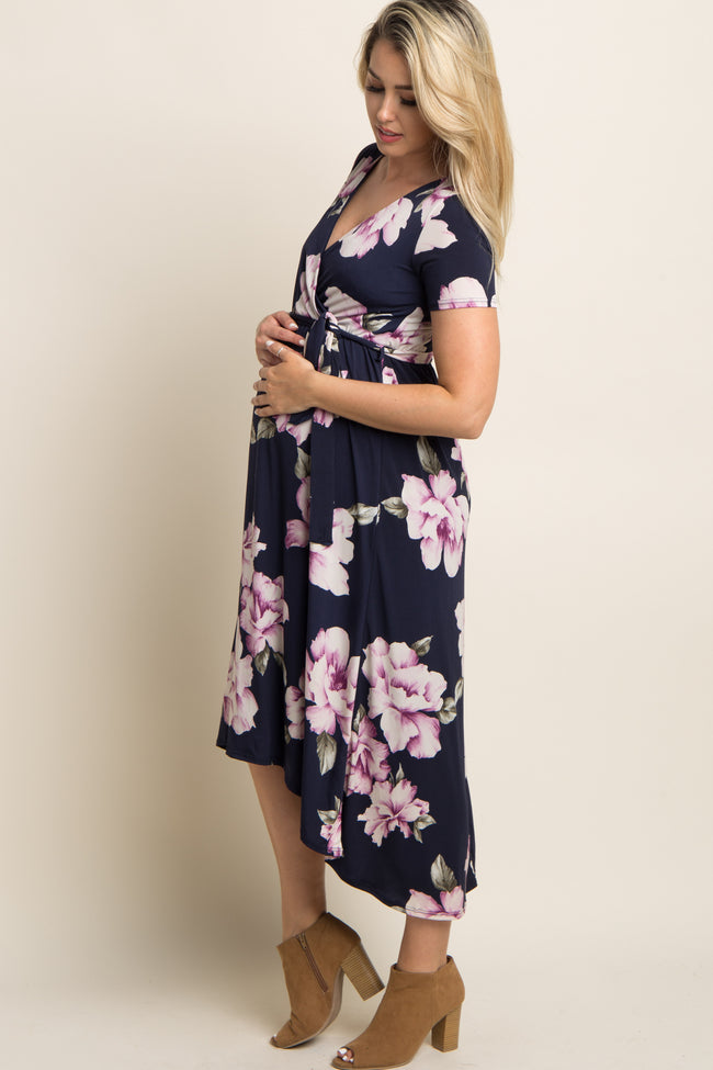 Blue Floral Hi-Low Maternity Wrap Dress