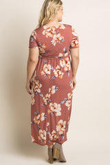 Rust Floral Hi-Low Plus Maternity Wrap Dress