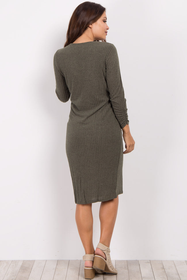 Olive Ribbed Fitted Knit Maternity Dress