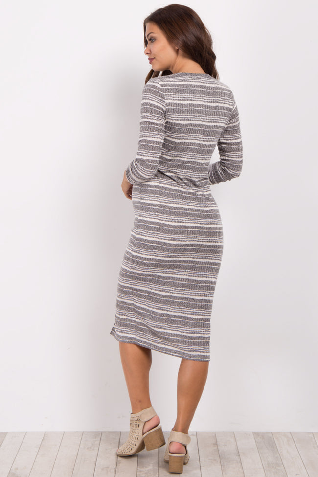 Charcoal Striped Ribbed Fitted Knit Maternity Dress