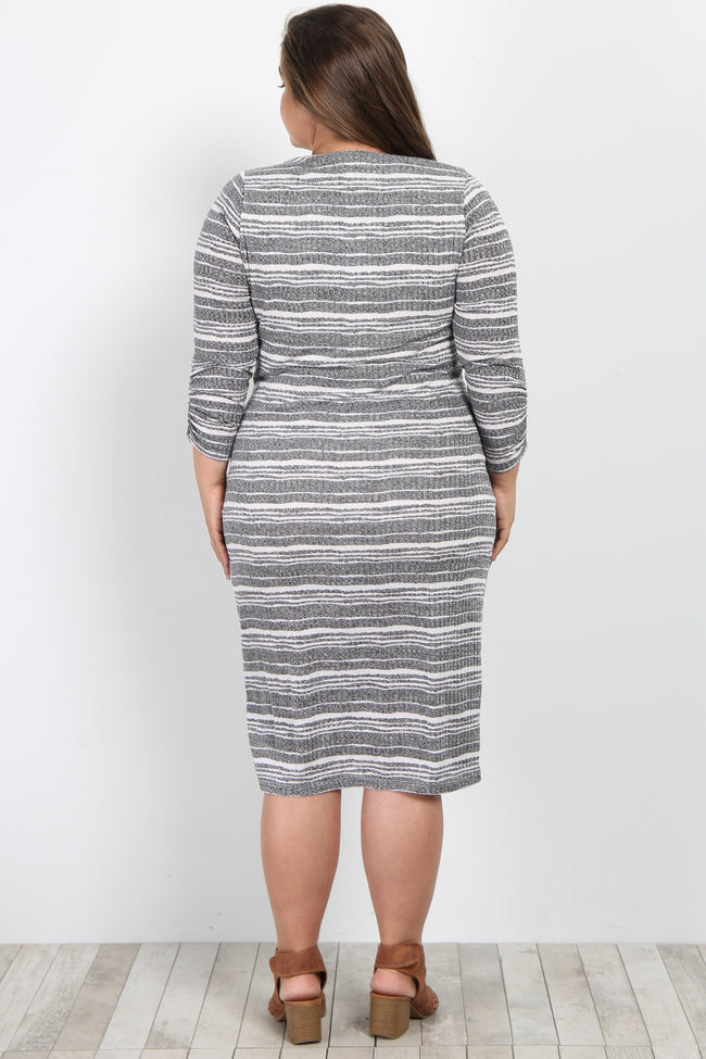 Charcoal Striped Ribbed Fitted Knit Plus Maternity Dress