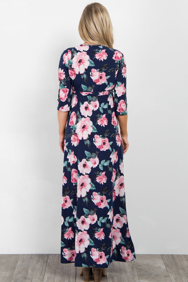 Navy Watercolor Floral Maternity Wrap Maxi Dress