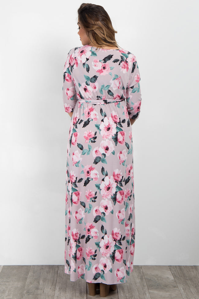 Taupe Watercolor Floral Plus Maternity Wrap Maxi Dress