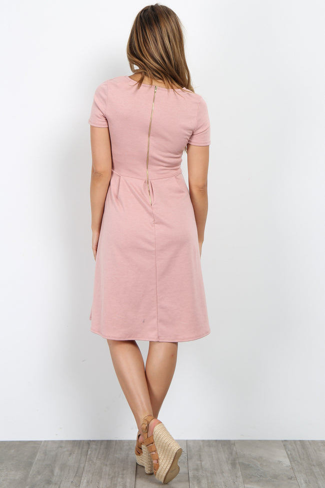 Light Pink Cutout Pleated Maternity Dress