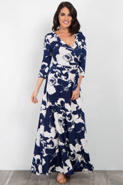 Navy Abstract Floral Sash Tie Maxi Dress