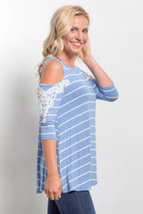 Light Blue Striped Open Shoulder Crochet Accent Top