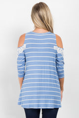 Light Blue Striped Open Shoulder Crochet Accent Maternity Top