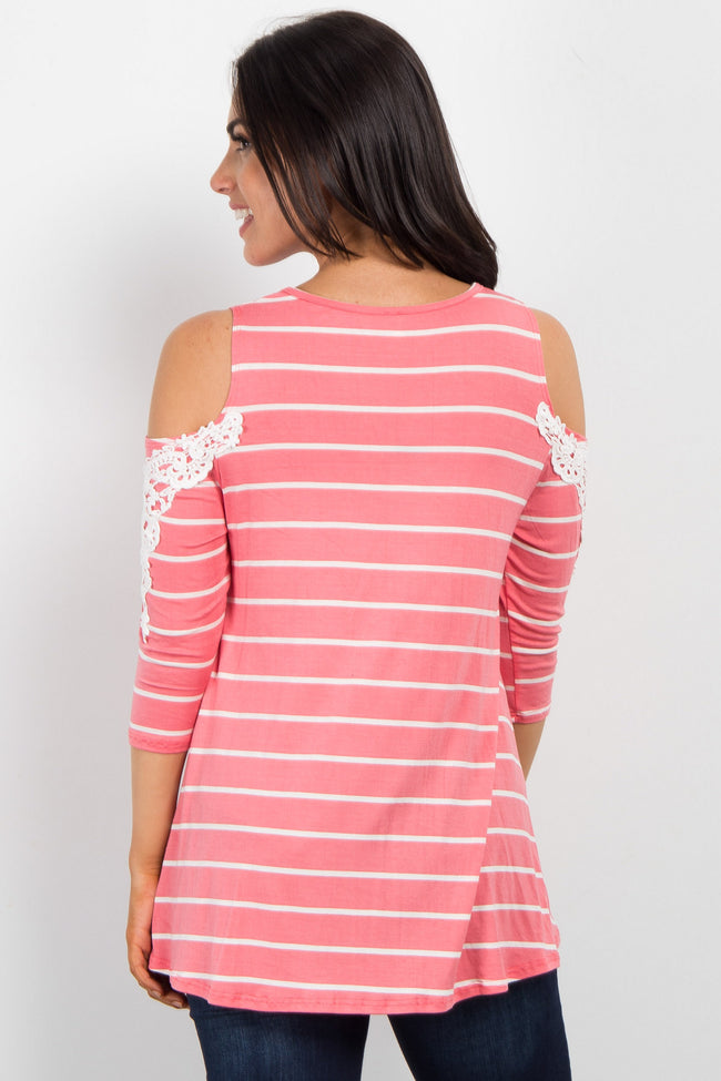 Pink Striped Open Shoulder Crochet Accent Top