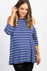 Blue Striped Cold Shoulder Plus Maternity Top