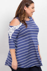 Blue Striped Cold Shoulder Plus Size Top