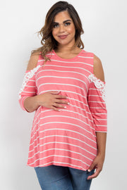 Pink Striped Cold Shoulder Plus Maternity Top