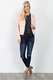 Pink Faux Leather Cropped Jacket