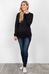 Black Solid Front Tie Maternity Sweater