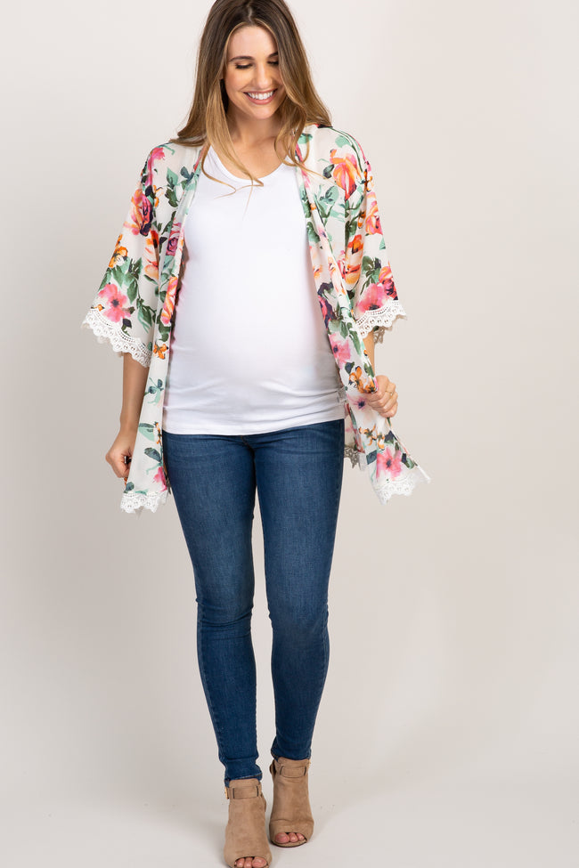 Cream Floral Crochet Trim Maternity Cover Up