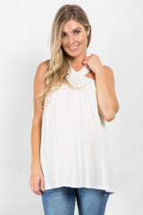 Ivory Sleeveless Halter Neck Maternity Top