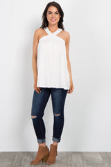 Ivory Sleeveless Halter Neck Top