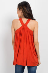 Rust Sleeveless Halter Neck Maternity Top