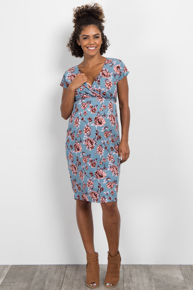 Blue Floral Short Sleeve Wrap Fitted Maternity Dress