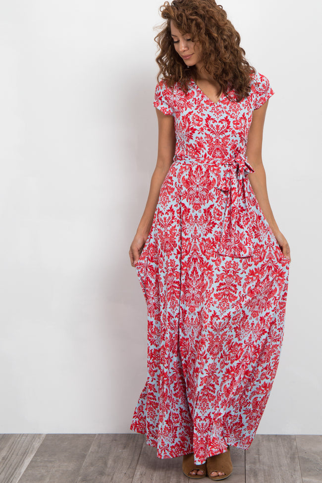 Red Damask Print Wrap Maxi Dress