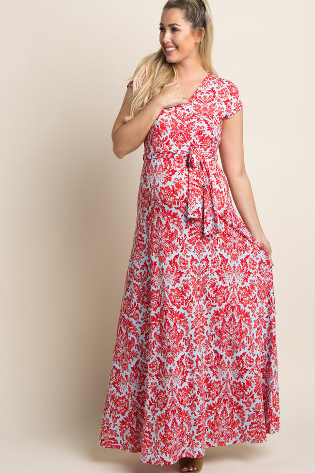Red Damask Print Maternity/Nursing Wrap Maxi Dress