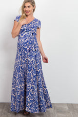 Blue Damask Print Maternity/Nursing Wrap Maxi Dress