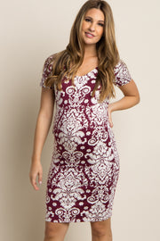 Burgundy Damask Scoop Neck Fitted Maternity Dress