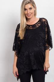 Black Sheer Rose Lace Maternity Poncho Top