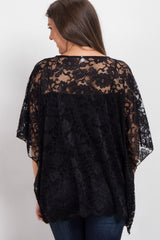 Black Sheer Rose Lace Poncho Top