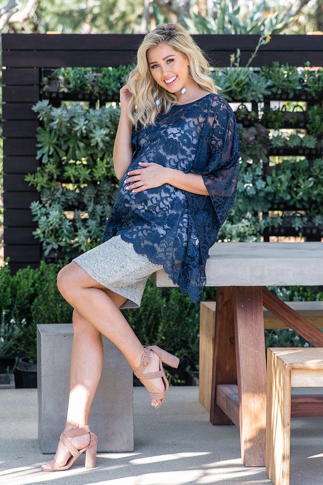 Navy Blue Sheer Rose Lace Maternity Poncho Top