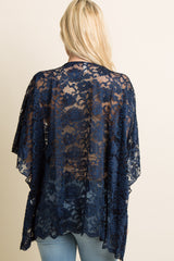 Navy Blue Sheer Rose Lace Poncho Top