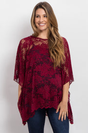 Burgundy Sheer Rose Lace Maternity Poncho Top
