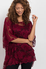 Burgundy Sheer Rose Lace Poncho Top