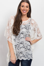 Ivory Sheer Rose Lace Poncho Top
