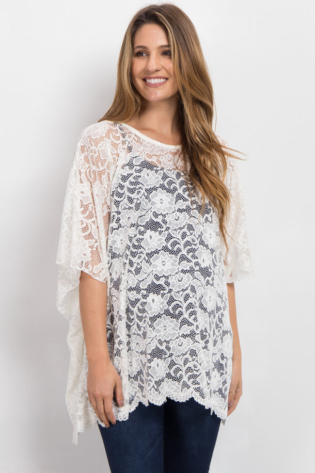 Ivory Sheer Rose Lace Maternity Poncho Top