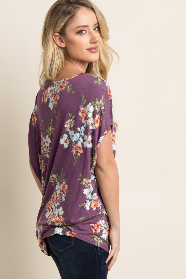 Purple Floral Zipper Accent Dolman Top