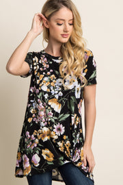 Black Floral Print Knot Top