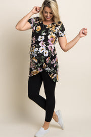 Black Floral Print Maternity Knot Top
