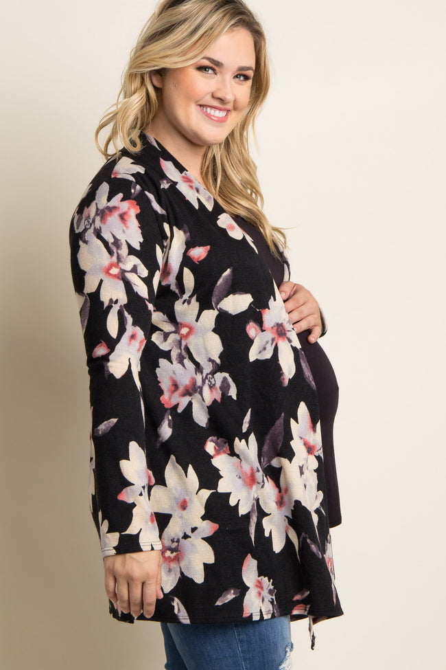 Black Floral Draped Front Plus Maternity Cardigan