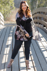Black Floral Print Draped Knit Plus Maternity Cardigan