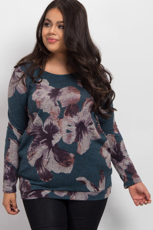 Blue Floral Print Long Sleeve Knit Plus Maternity Top