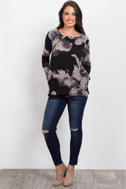 Black Floral Print Long Sleeve Knit Top
