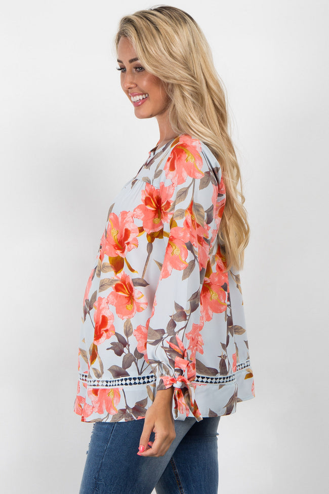 Mint Green Floral Long Sleeve Tie Maternity Blouse