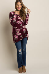 Burgundy Floral Long Sleeve Maternity Knot Top
