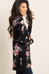 Black Floral Long Sleeve Knot Top