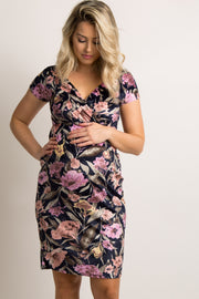 Navy Floral Fitted Wrap Maternity Dress