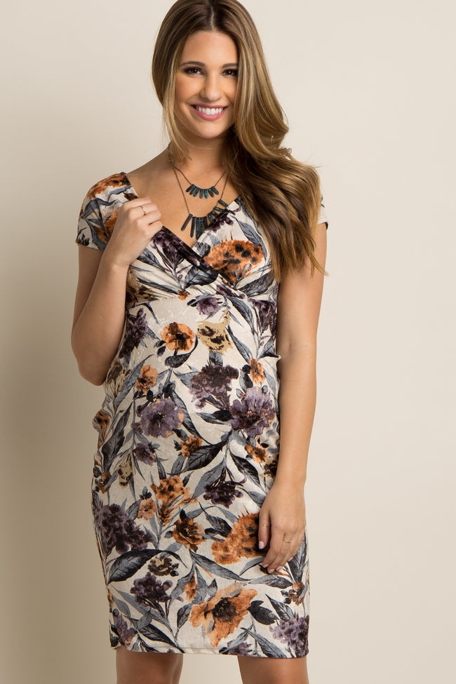 Ivory Floral Fitted Wrap Maternity Dress