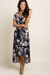 Black Watercolor Floral Hi-Low Maternity Wrap Dress