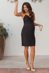 PinkBlush Black Shimmer Cami Strap Fitted Maternity Dress